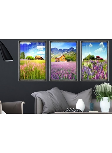 Çerçeve Home  Lavender Field Inox Çerçeve Tablo Seti Füme